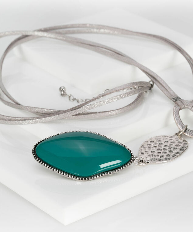 Hammered Metal & Natural Stone Necklace, Rhodium/Soft Teal, hi-res