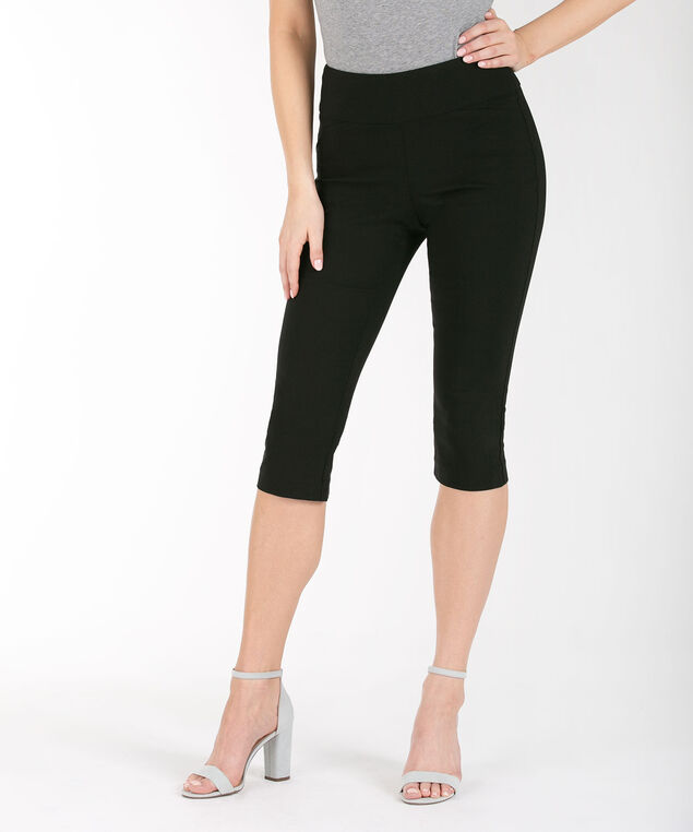 Back Slit Microtwill Capri, Black, hi-res