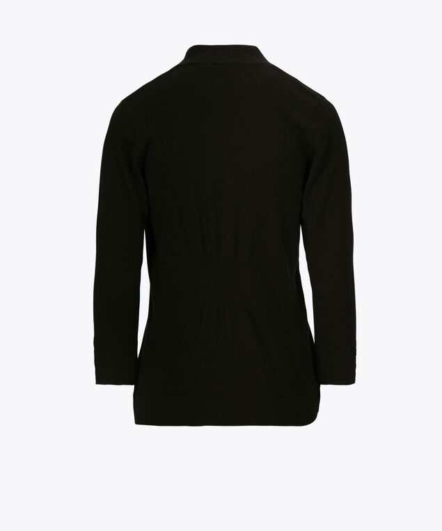 Cinch-Back Open Cardigan, Black, hi-res