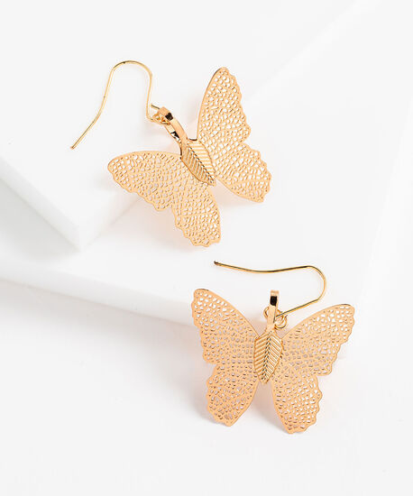 Plated Butterfly Earring, Gold, hi-res