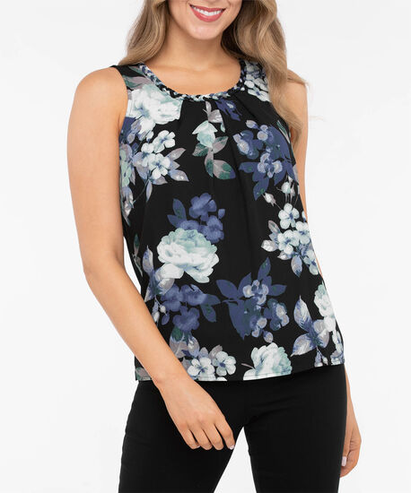 Braided Trim Gathered Overlay Top, Black/True Navy/Pearl, hi-res