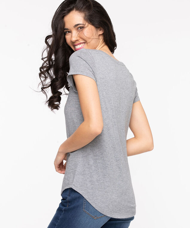 Scoop Neck Shirttail Graphic Tee, Grey/On Vacation