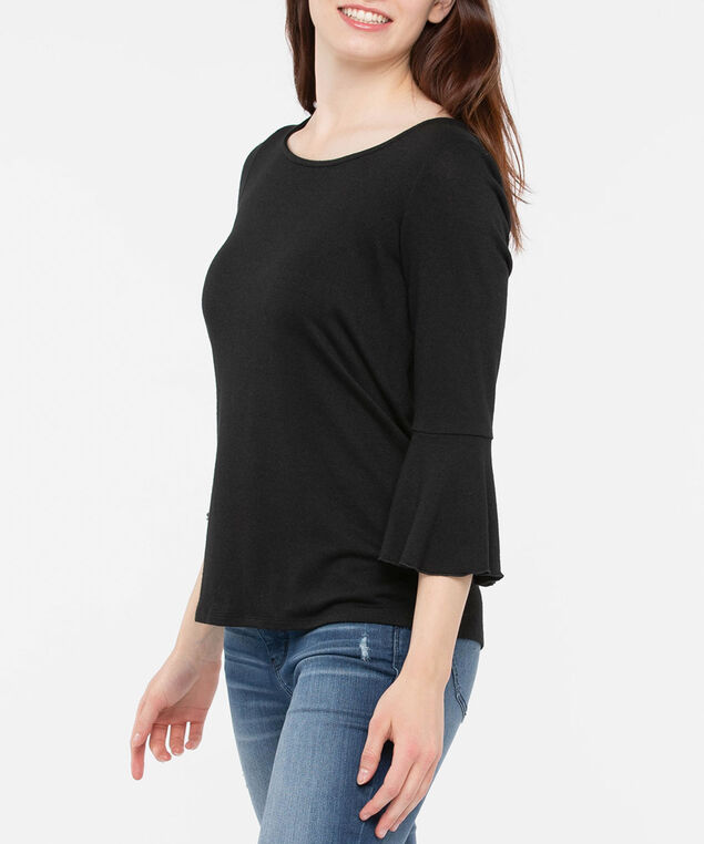 Flounce Sleeve Scoop Neck Top, Black, hi-res