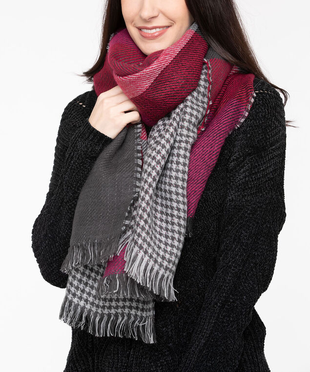 Double Sided Blanket Scarf, Black/Crimson/Berry, hi-res