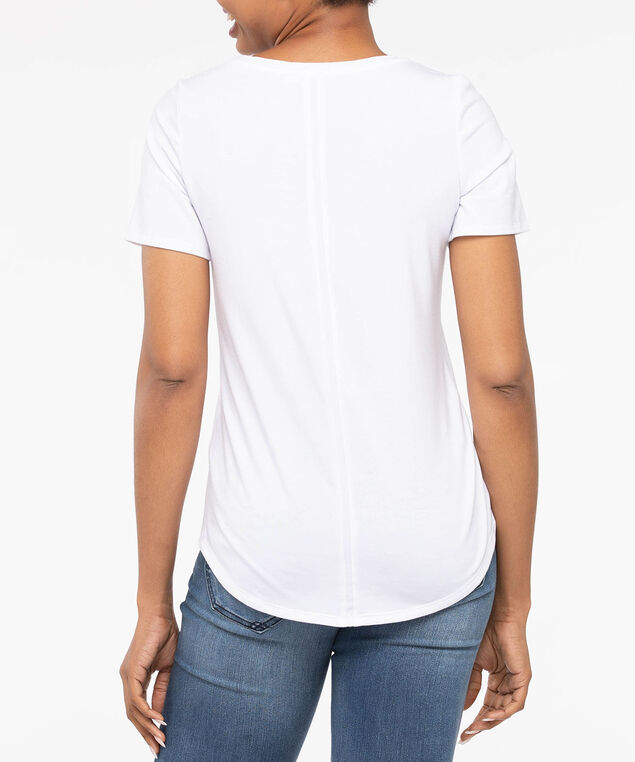 Basic Scoop Neck Pocket Tee, Pearl, hi-res