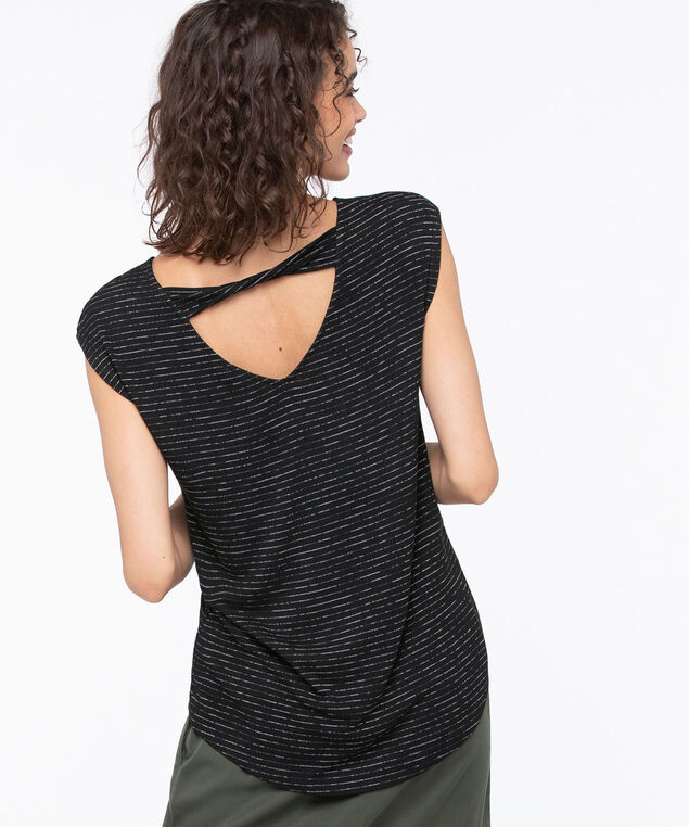 Twist Back Extended Sleeve Top, Black/Pearl, hi-res