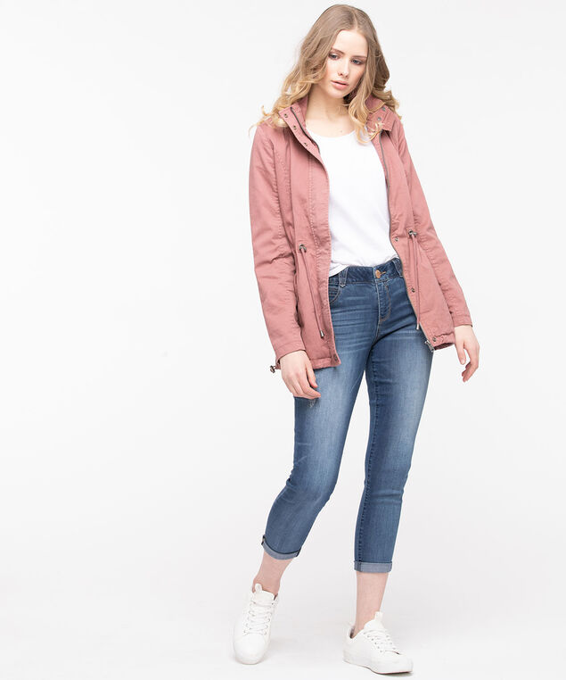 Toggle Waist Cotton Anorak, Rose Petal/Summer Navy, hi-res