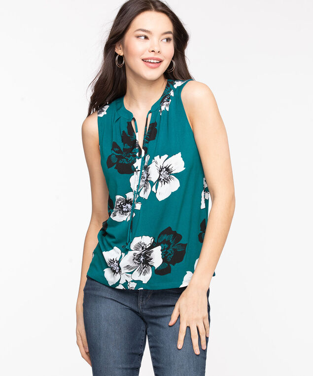 Sleeveless Tie Neck Top, Teal Floral
