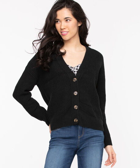 Ribbed Knit Button Front Cardigan, Black, hi-res