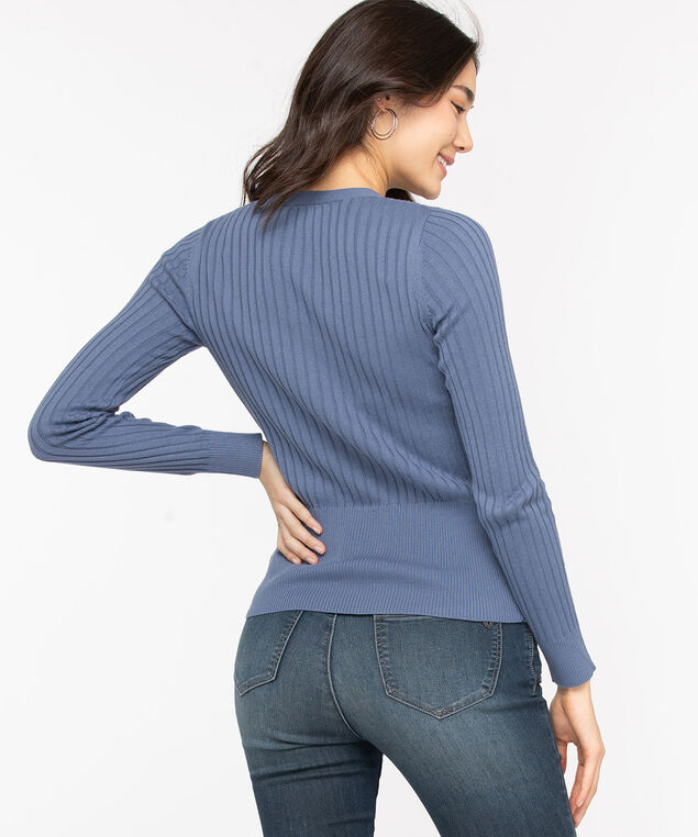 Ribbed Henley Pullover Sweater, Steel Blue, hi-res