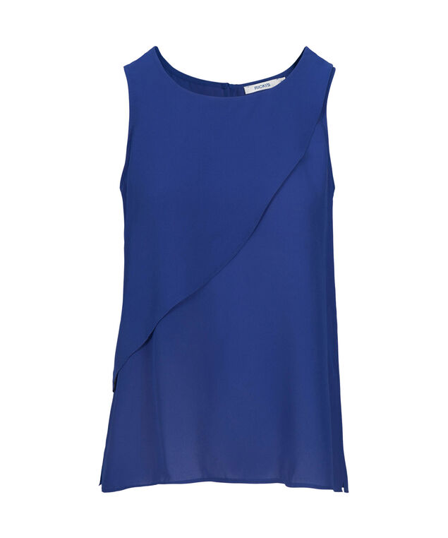 Tier Overlay Sleeveless Blouse, Mid Blue, hi-res