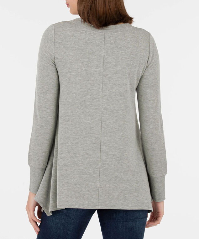 V-Neck Long Sleeve Pullover, Heathered Grey, hi-res