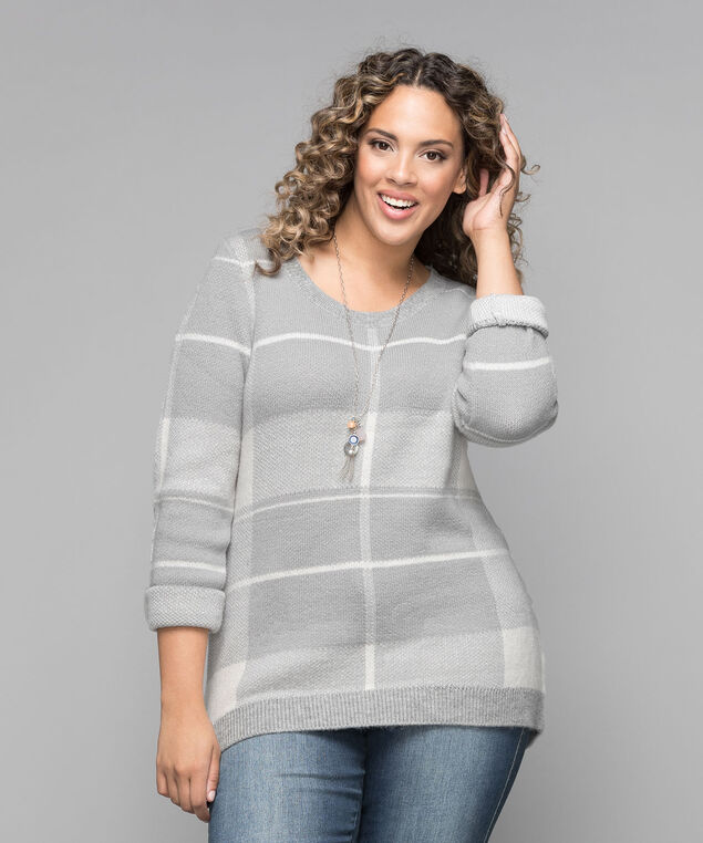 Plaid Pullover Sweater, Grey/Iced Peach, hi-res