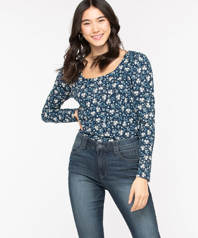 Puff Sleeve Scoop Neck Top, Blue /Pristine Floral, hi-res