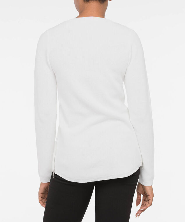 Scoop Neck Zipper Detail Sweater, Pearl, hi-res