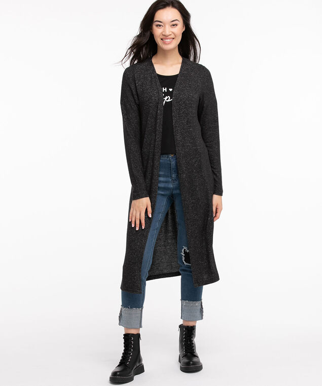 Hacci Duster Cardigan, Charcoal