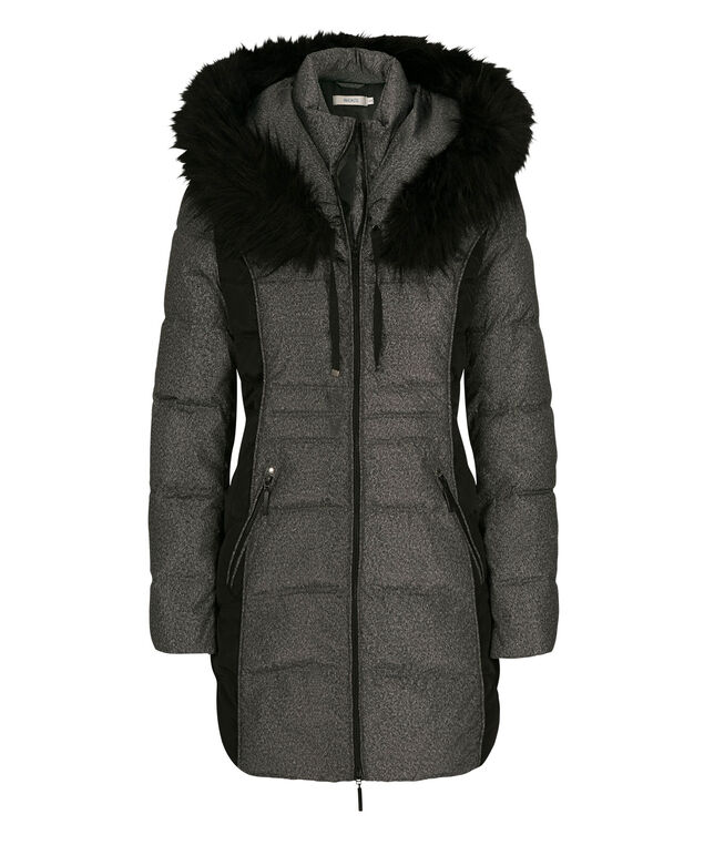 Colour Block Quilted Coat, Black/Grey Pattern, hi-res