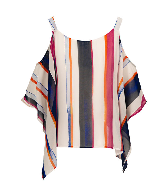 Cold Shoulder Cape Overlay Top, Milkshake/Blue/Pink/Black, hi-res
