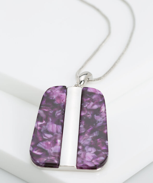 Resin Pendant Necklace, Rhodium/Deep Purple, hi-res