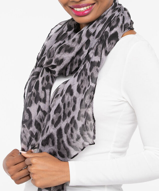 Leopard Print Oblong Scarf, Black/Grey, hi-res