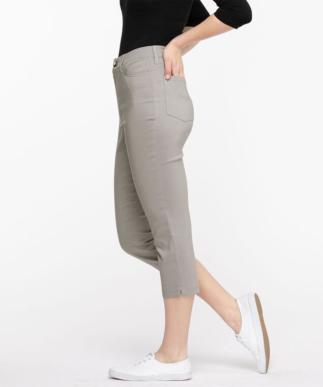 Microtwill Pull-On Crop Pant, Frost Gray