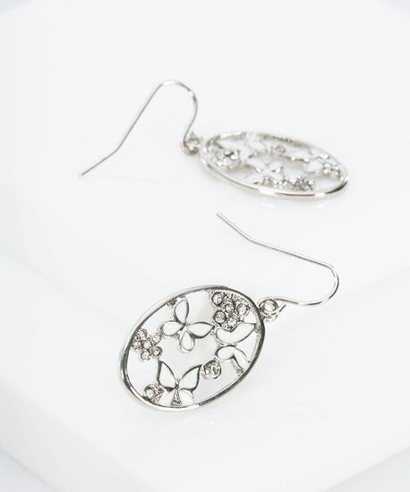 Butterfly & Crystal Flower Earring, Rhodium/Milkshake, hi-res