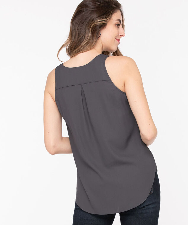 Pleat Back Woven Essential Cami, Grey, hi-res