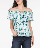 Ruffled On-Off Shoulder Blouse, Deep Sapphire/Soft Teal/Pearl, hi-res