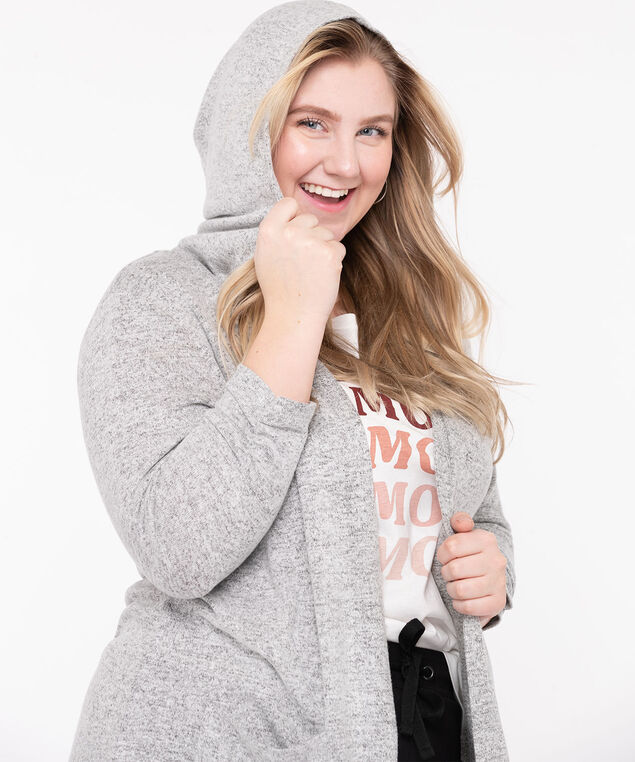 Hooded Tunic Length Open Cardigan, Grey Mix