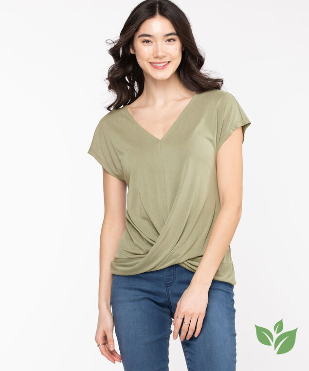 Eco-Friendly V-Neck Twist Hem Top, Shadow