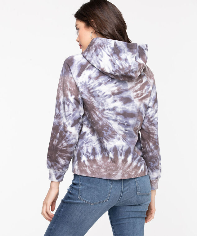 Long Sleeve Hooded Sweatshirt, Purple Ash Tie Dye
