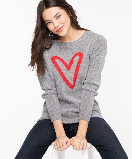 Whimsical Heart Pullover Sweater, Light Grey/Red, hi-res