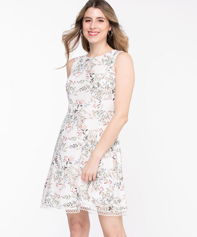 Floral Swiss Dot Sleeveless Dress, Whisper White Floral
