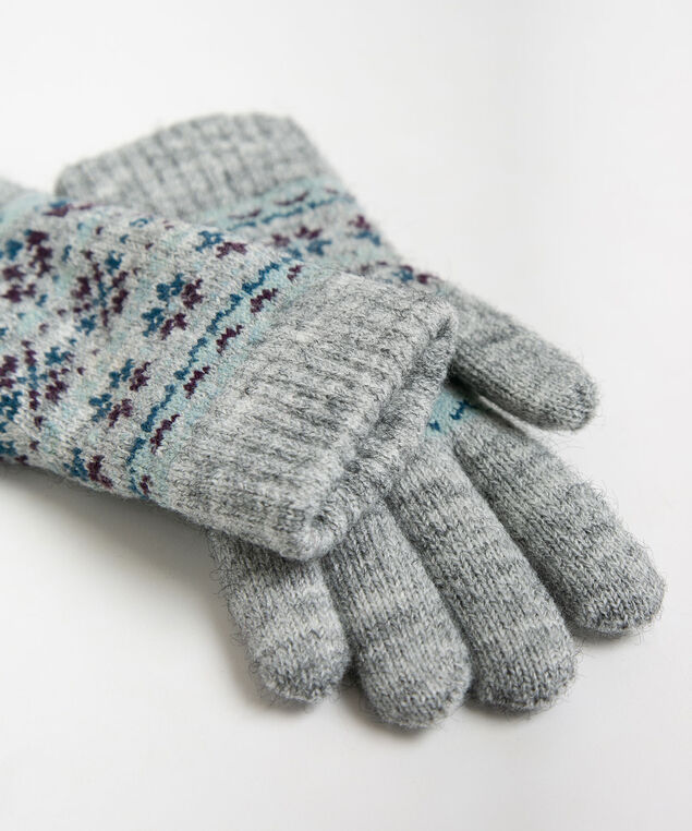 Fairisle Chenille Lined Glove, Mid Heathered Grey/Teal/Berry, hi-res