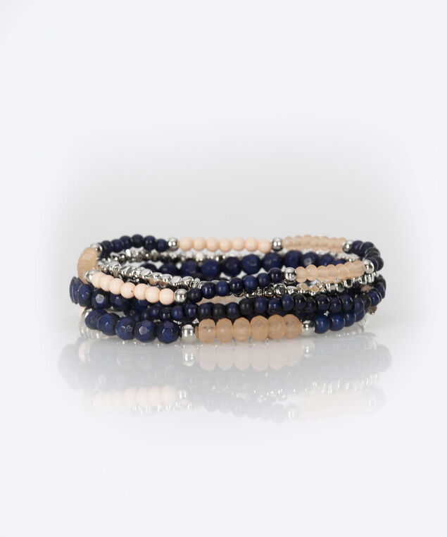 Feather & Bead Stretch Bracelet, Summer Navy/Cerulean/Rhodium, hi-res