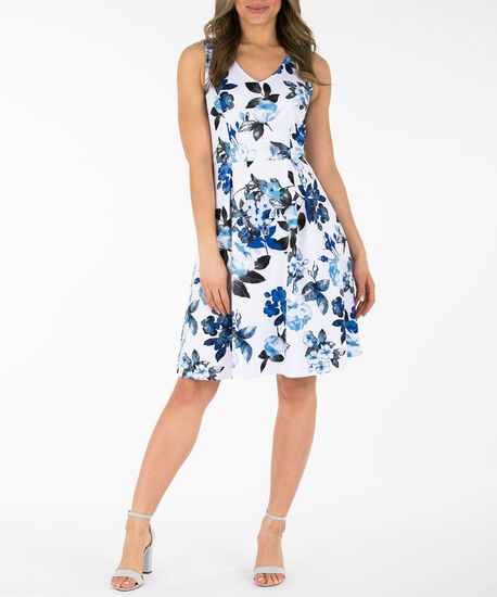 Cut-Out Back Floral Dress, Pearl/Deep Sapphire/Black, hi-res