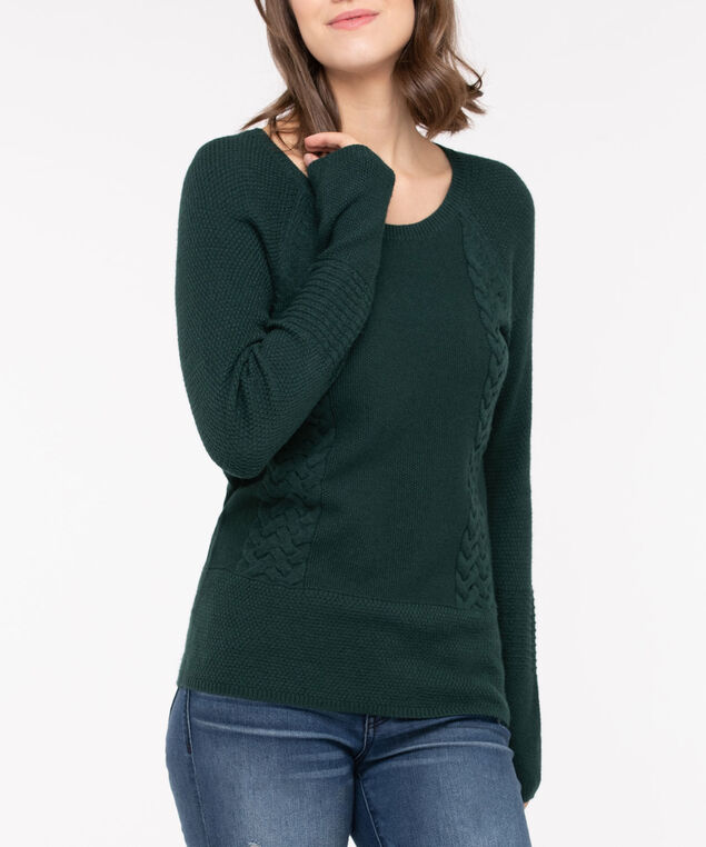 Cable Knit Detail Sweater, Deep Green, hi-res