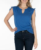 Sleeveless Notch Neck Ruched Top, Blue, hi-res