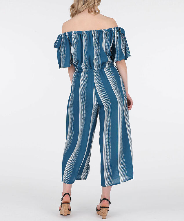 Tie-Sleeve Striped Jumpsuit, Blue/Ivory, hi-res