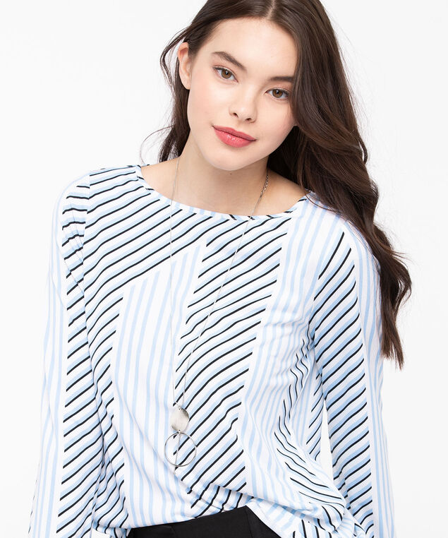 Graphic Lines Slit Back Top, Sky Blue/Pearl/Black, hi-res