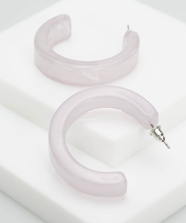 Resin Hoop Earring, Mauve, hi-res
