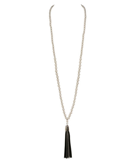 Faux Leather Tassel & Pearl Necklace, White/Black/Rhodium, hi-res