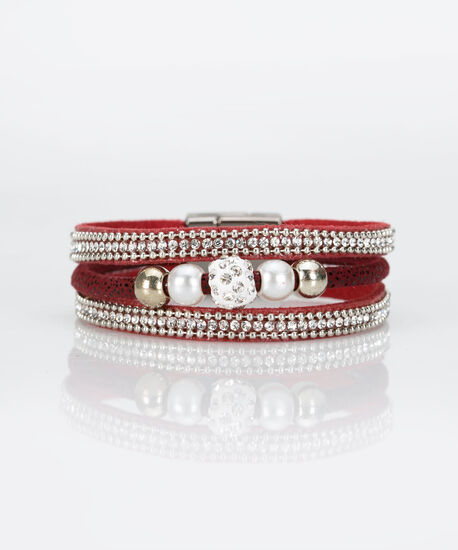 Pearl & Crystal Wrap Bracelet, Rust/Burgundy/Rhodium, hi-res