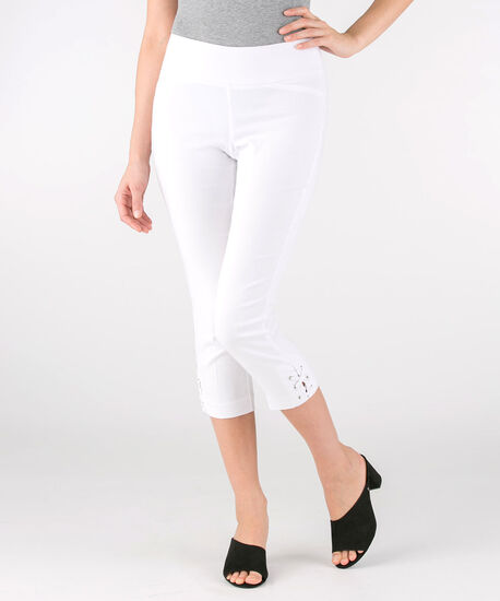 Microtwill Lace Up Capri, True White, hi-res