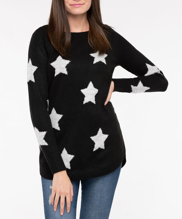Starry Pattern Boatneck Sweater, Black/Silver Grey, hi-res