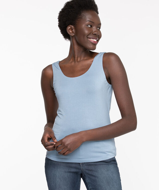 Double Layer Smoothing Cami, Dusty Blue