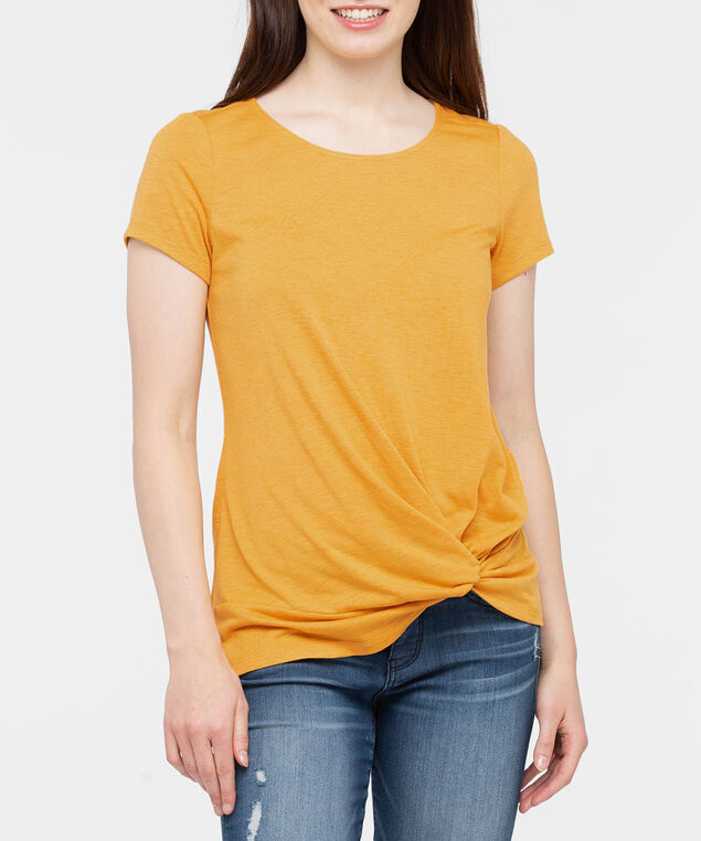Short Sleeve Knot Front Top, Marigold, hi-res