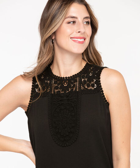 Sleeveless Crochet Yoke Blouse, Black, hi-res