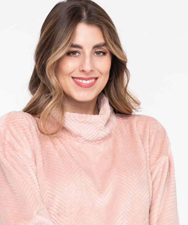 Plush Mock Neck Pullover, Misty Rose, hi-res
