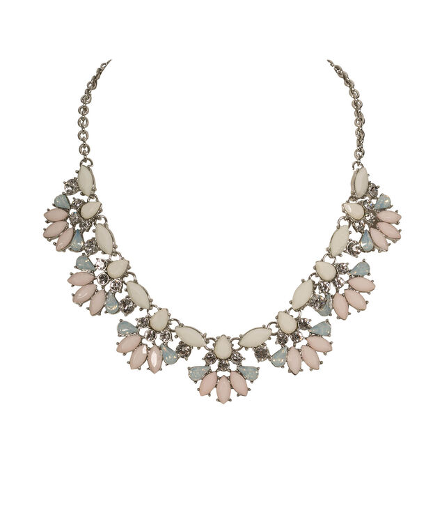 Faceted Stone & Crystal Statement Necklace, Taupe/Pink/Rhodium, hi-res
